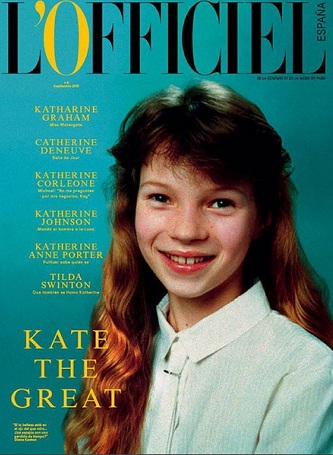 A picture of model Kate Moss from her school years on the cover of L'Officiel Espana.