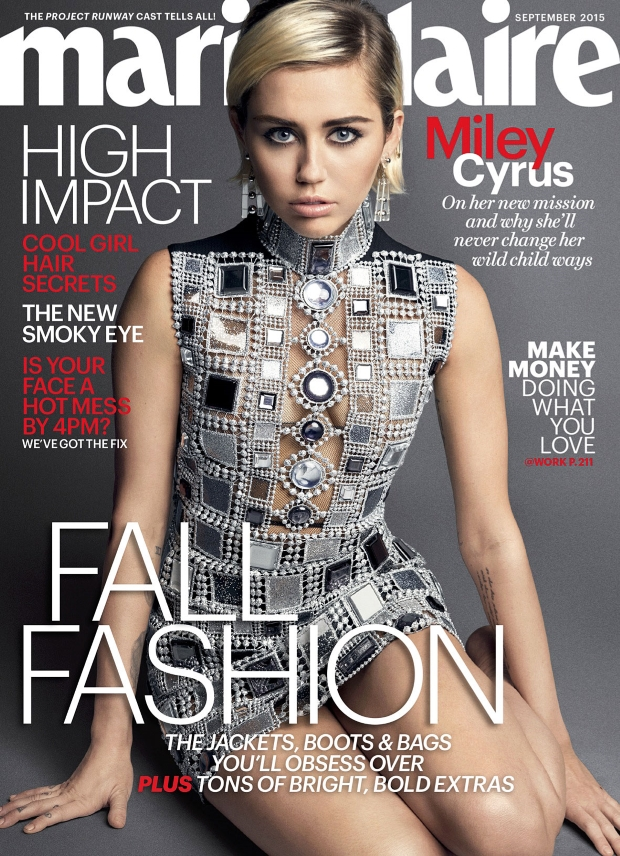 US Marie Claire September 2015 Miley Cyrus by Mark Seliger