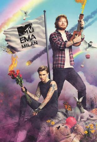 Ruby Rose and Ed Sheeran MTV announcement