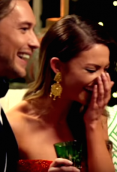 WATCH: Sam Frost Meets the Bachelors, Cackles Ridiculously Throughout