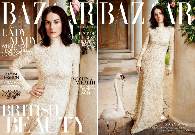 UK Harper's Bazaar October 2015 Michelle Dockery by David Slijper