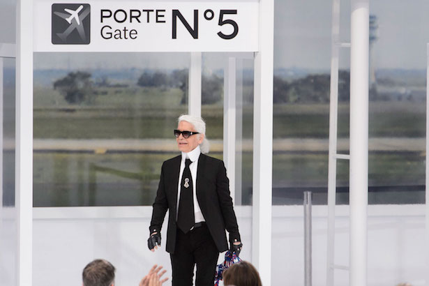Karl Lagerfeld at the Chanel Spring 2016 runway show in Paris