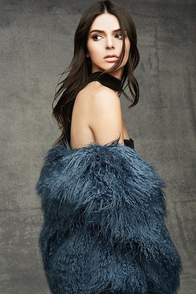 Kendall Jenner wears blue fur coat for Topshop holiday collection