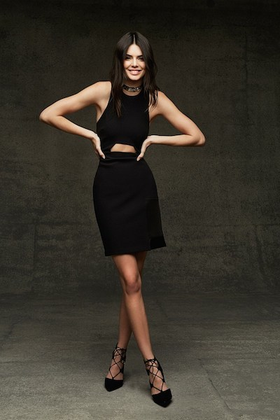 Kendall Jenner in little black dress from Topshop Holiday