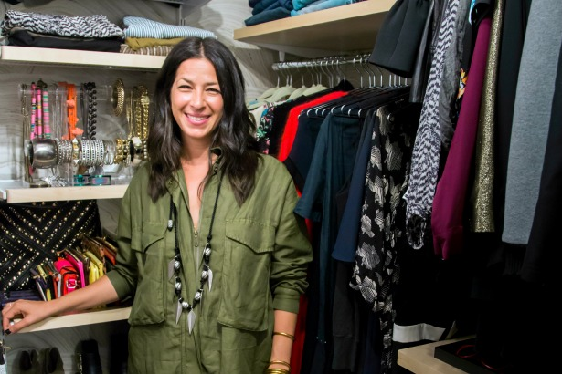 Rebecca Minkoff stands in her new organized closet
