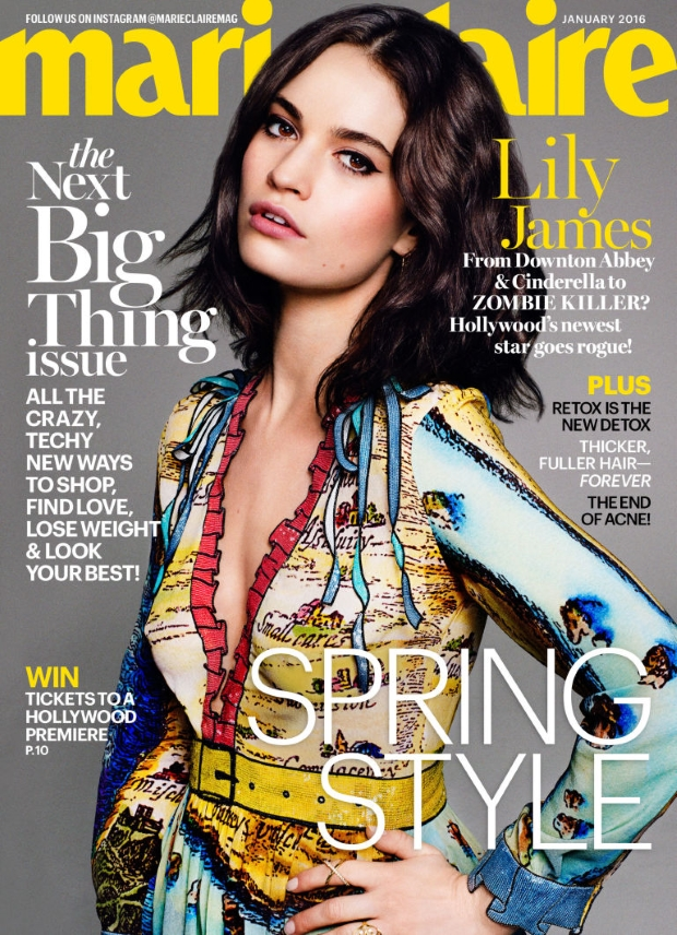 US Marie Claire January 2016 : Lily James, Bella Heathcote & Suki Waterhouse