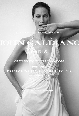 John Galliano S/S 2016 : Christy Turlington by Inez van Lamsweerde & Vinoodh Matadin