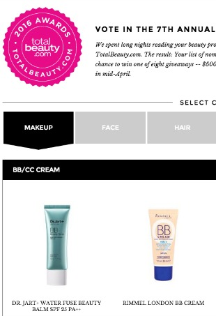 Vote for the Best Beauty Products of 2016 in TotalBeauty.com's Annual Readers' Choice Awards
