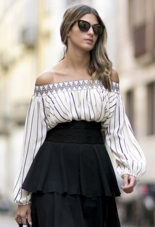 off-the-shoulder-white-blouse-black-skirt-street-style-portraitcropped