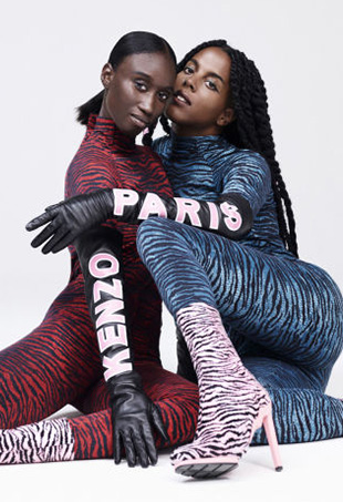 Amy Sall (left) and and Juliana Huxtable (right) shot by Oliver Hadlee Pearch for Kenzo x H&M.