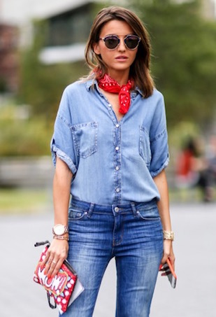 double-denim-shirt-jeans-scarf-street-style (1)