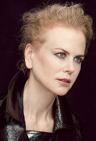 A behind the scenes shot of Nicole Kidman posing for Peter Lindbergh.