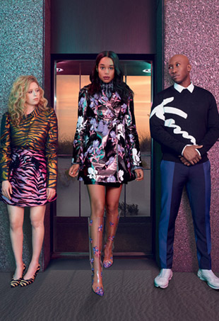 Natasha Lyonne, Laura Harrier, and Mahershala Ali in Kenzo's fall campaign.