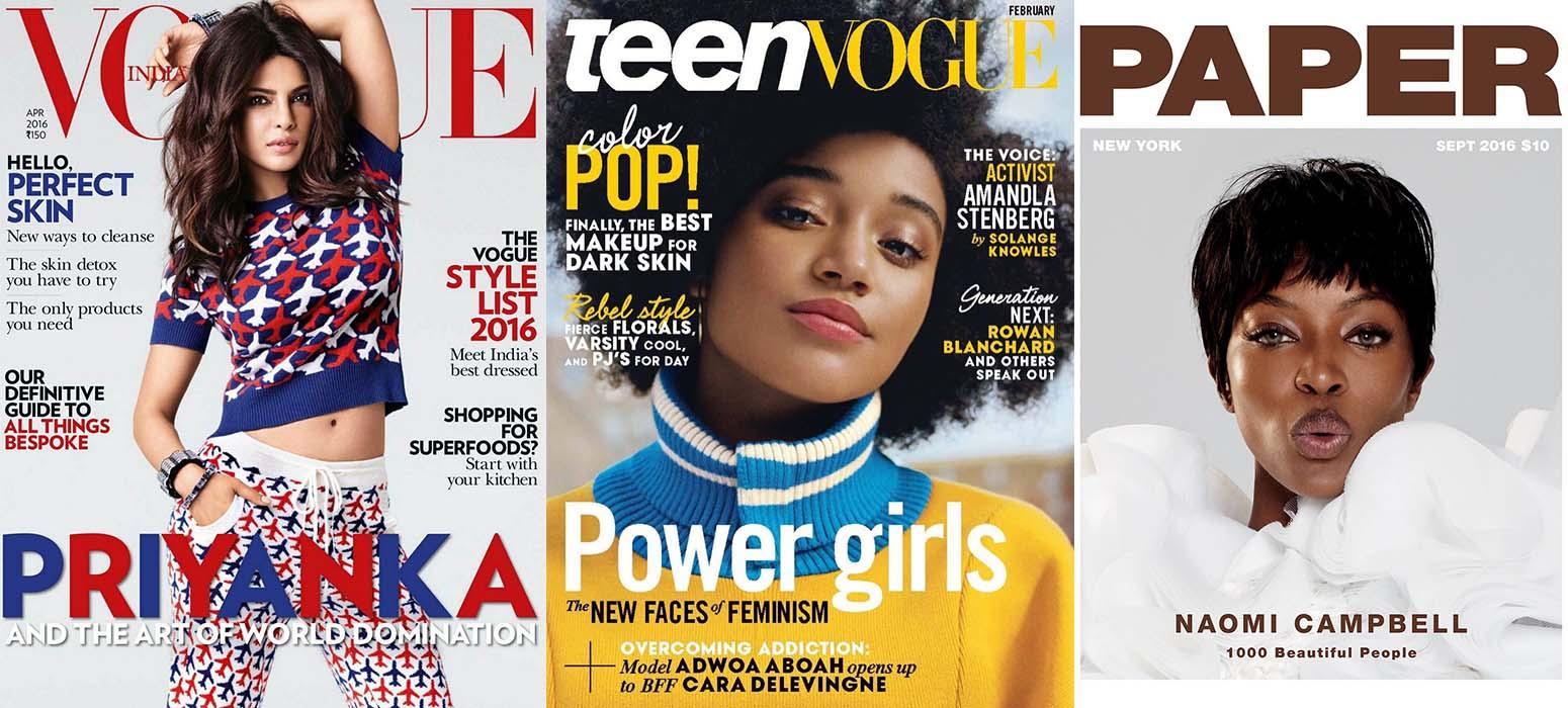 Vogue India April 2016, Teen Vogue February 2016, Paper September 2016; Images: Courtesy