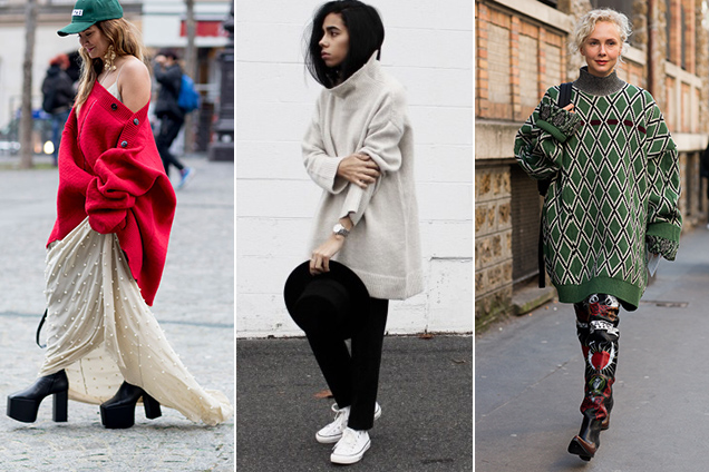 Here's how street style stars are cozying up to the oversized knitwear trend.