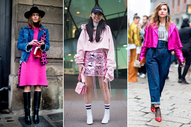 Pops of pink outside the recent Paris and Milan fashion shows; Images: Imaxtree