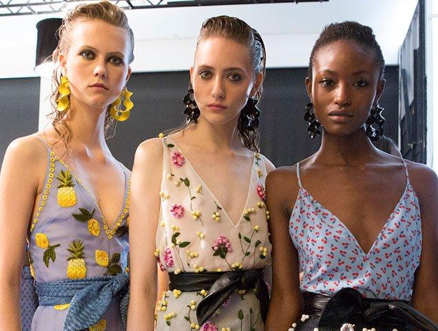 Models backstage at Altuzarra Spring 2017.