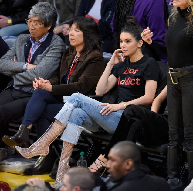 Kendall Jenner in $49 Eros boots (not Yeezys).