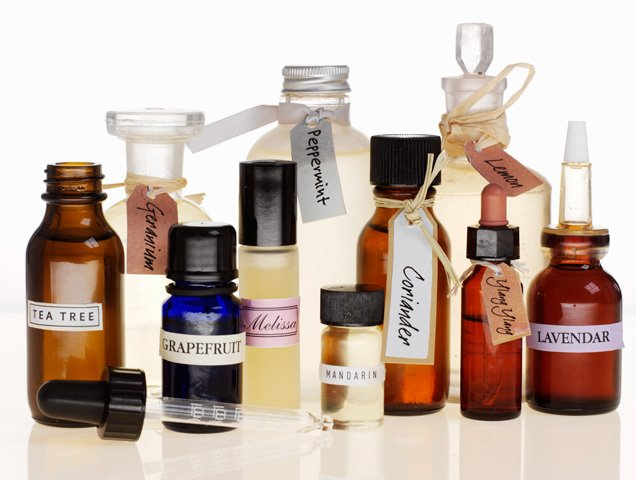 bottles of different scented oils for layering perfume
