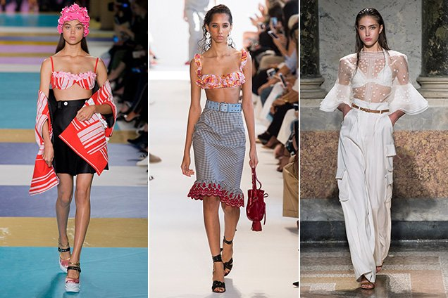 Bikini tops as regular tops on the runway at Miu Miu Spring 2017, Altuzarra Spring 2017, Les Copains Spring 2017; Images: Imaxtree