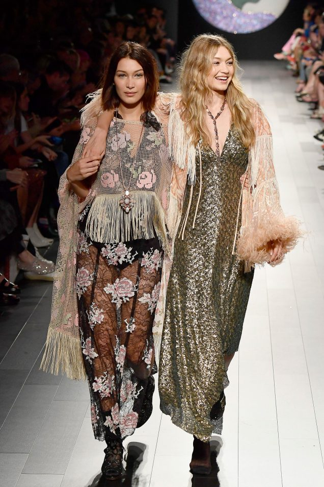 Bella Hadid and Gigi Hadid on the Anna Sui Spring 2018 runway.