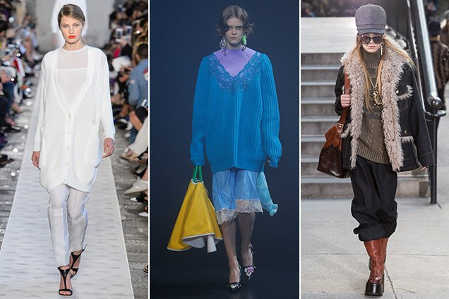 Oversized sweaters on the runways. Max Mara Spring 2018, Balenciaga Spring 2018, Marc Jacobs Fall 2017