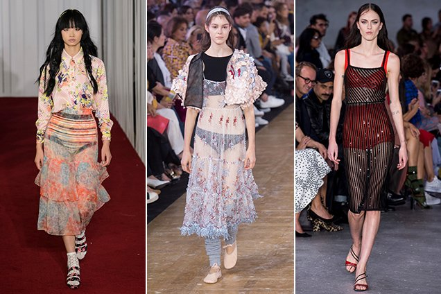 what to wear under sheer clothing at Jill Stuart Spring 2018, Moncler Gamme Rouge Spring 2018, No. 21 Spring 2018