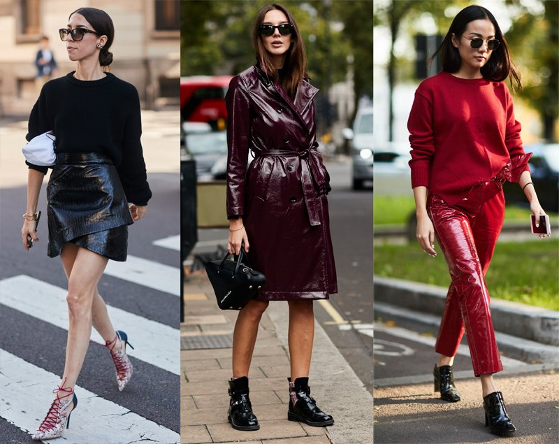 Vinyl fashion trend spotted on the street style set