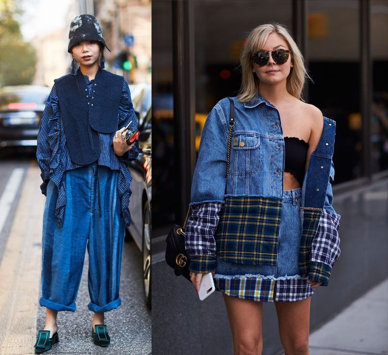 Statement denim as worn by the street style set
