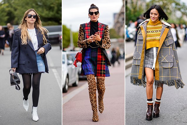 Warm takes on miniskirt dressing.