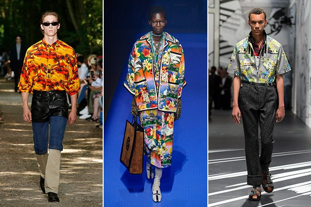 Hawaiian shirts in the Balenciaga Spring 2018 Menswear collection, Gucci Spring 2018 Womenswear collection and Prada Spring 2018 Menswear collection.