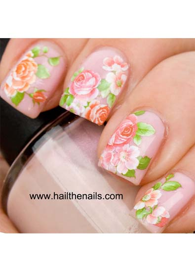 Hail the Nails English Rose Nail Art Water Transfer Nail Decal in Pink &amp; Peach
