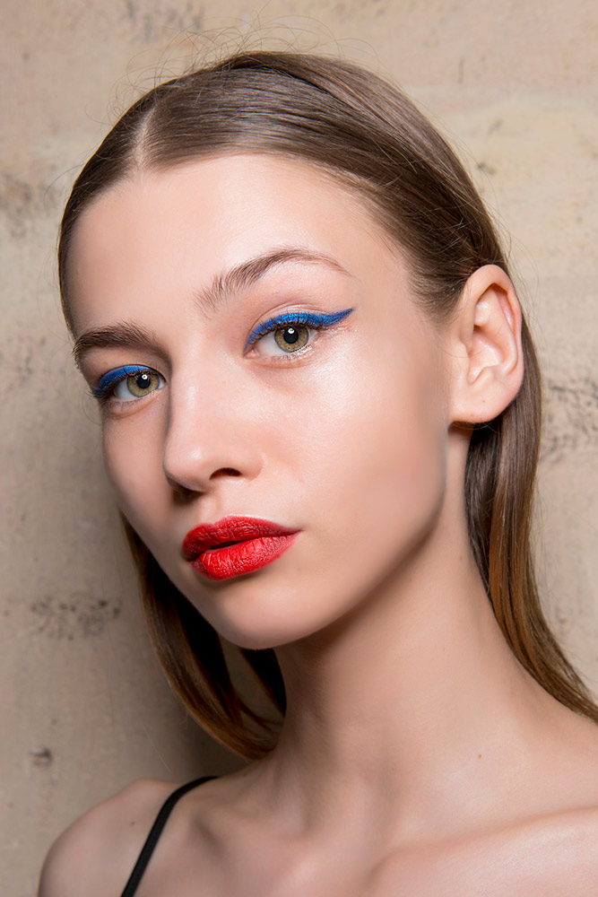 Blue Eyeliner and Red Lipstick