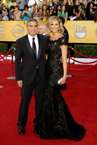 George Clooney and Stacey Keibler in Marchesa