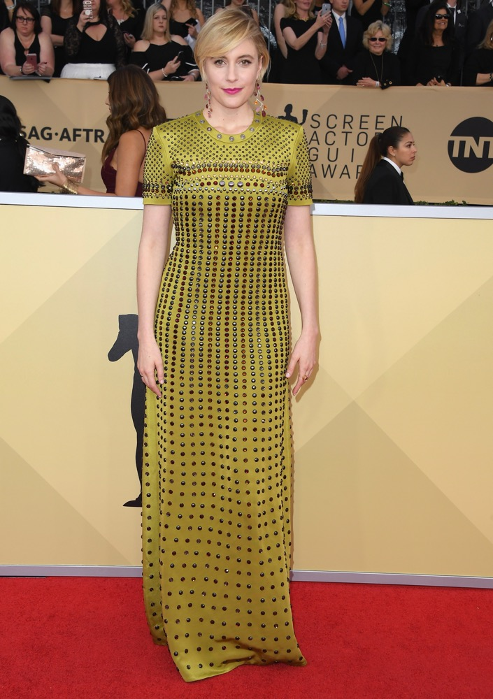 Greta Gerwig  All the Glitz and Glamour From the 2018 SAG Awards Red Carpet Greta Gerwig 2018 SAG Awards