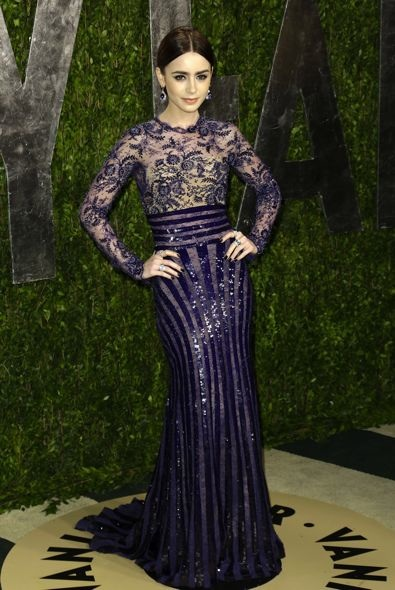 Lily Collins at the 2013 Vanity Fair Oscar Party