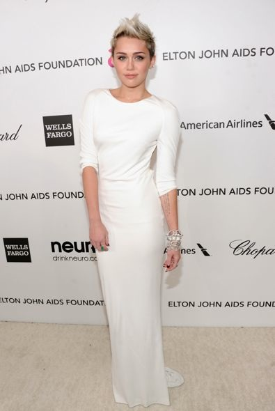 Miley Cyrus at the 21st Annual Elton John AIDS Foundation's Oscar Viewing Party