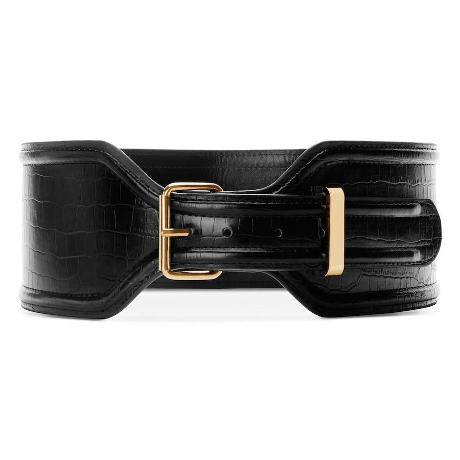 Croc Effect Belt In Black