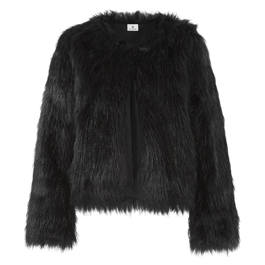 Faux Fur Cropped Jacket In Black