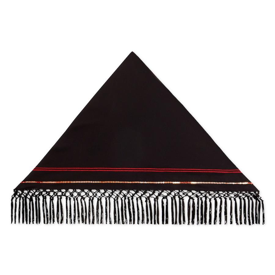 Fringe Scarf In Black , Red