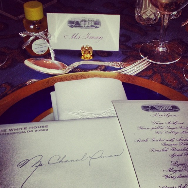 Chanel Iman Dines at the White House