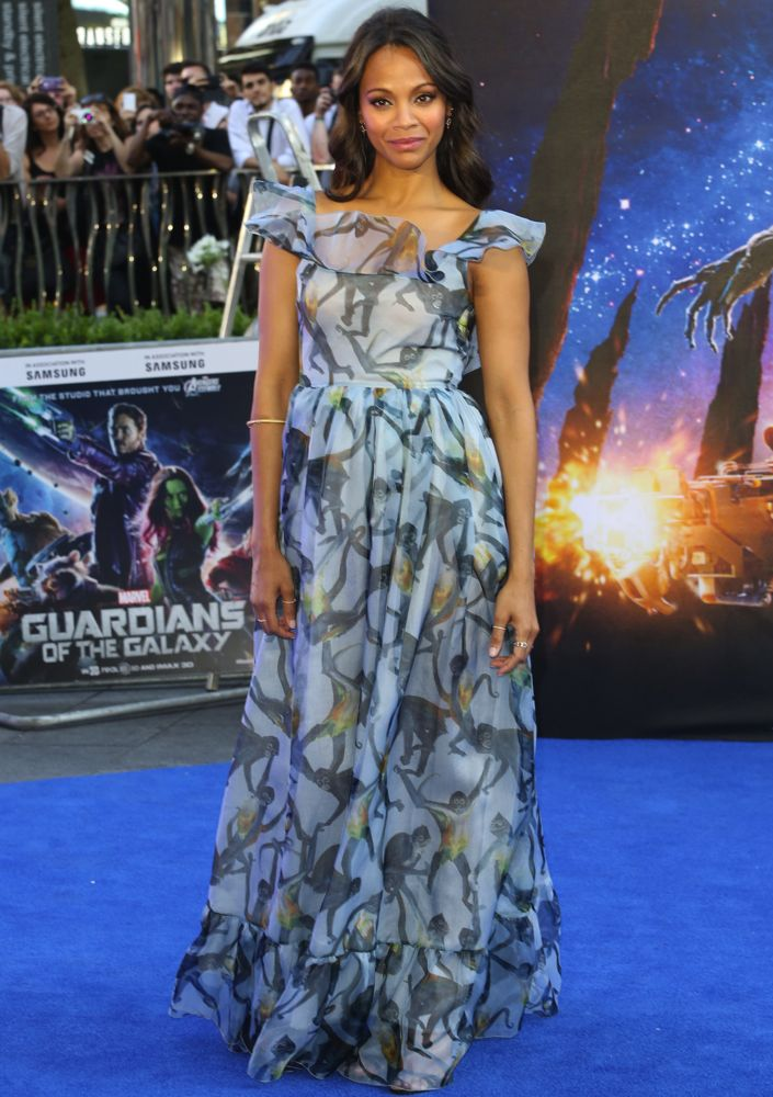 Zoe Saldana at the London Premiere of Guardians of the Galaxy