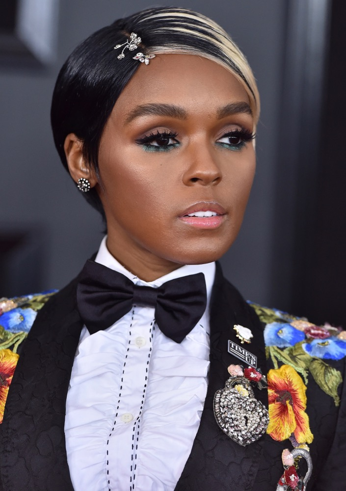 Janelle Monáe  Here's How Celebs Are Wearing the Runway's Glitzy Hair Accessories Trend on the Red Carpet bling hairstyles janelle monae grammys