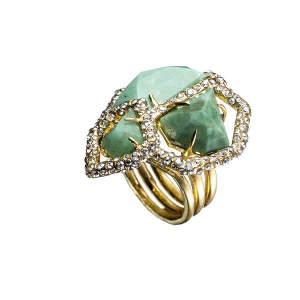 New Wave Gold Chrysophrase Stacked Ring