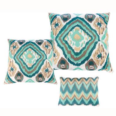 Seafoam/Taupe Ikat Pillows by Kim Seybert