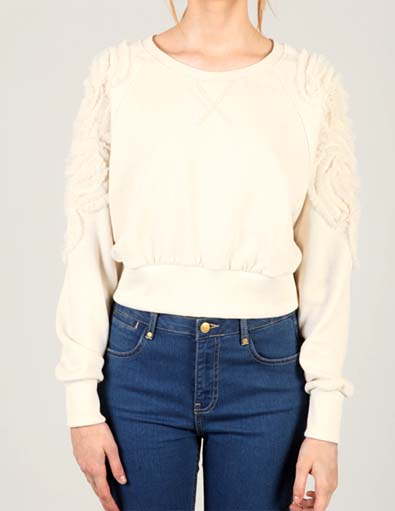 Chiffon Rose Detail Sweatshirt