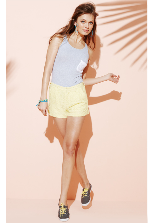 Lace-Pocket Tank and Shorts