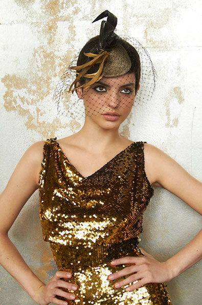 Leah C Gold And Black Veiled Cocktail Hat