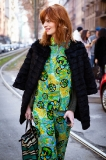 prints, patterns, and bright colors outside Gucci