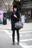 Model leaving Lincoln Center